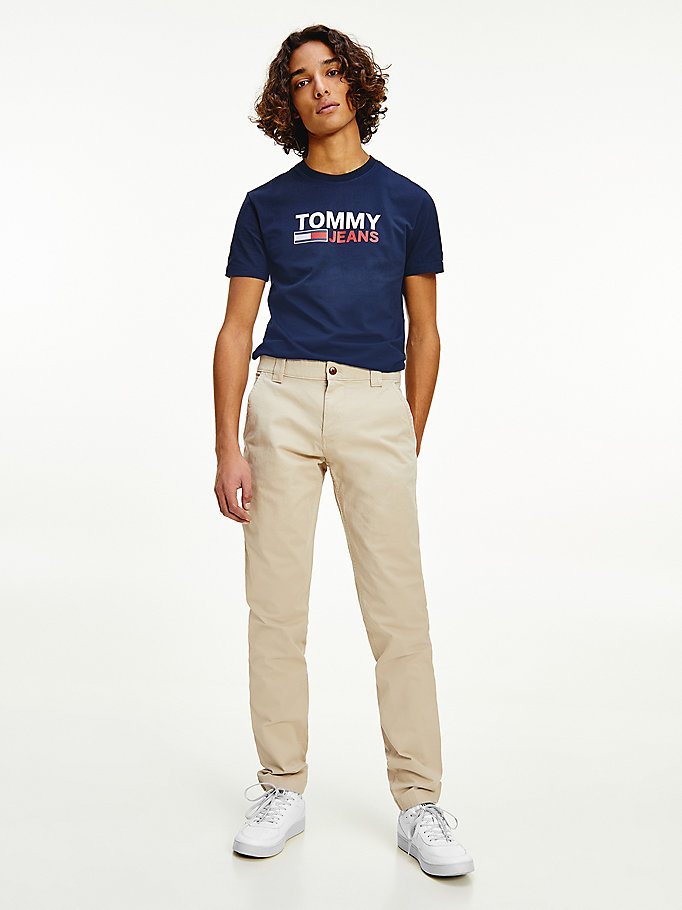 beige scanton slim fit chino voor heren - tommy jeans
