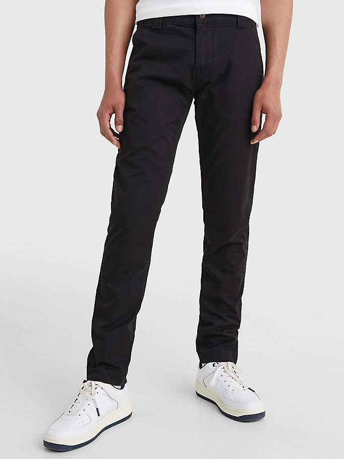black scanton slim fit chinos for men tommy jeans