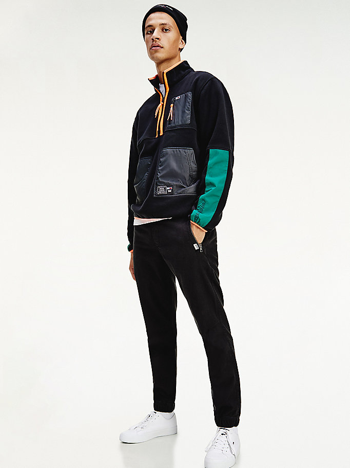 black colour-blocked zip sweatshirt for men tommy jeans