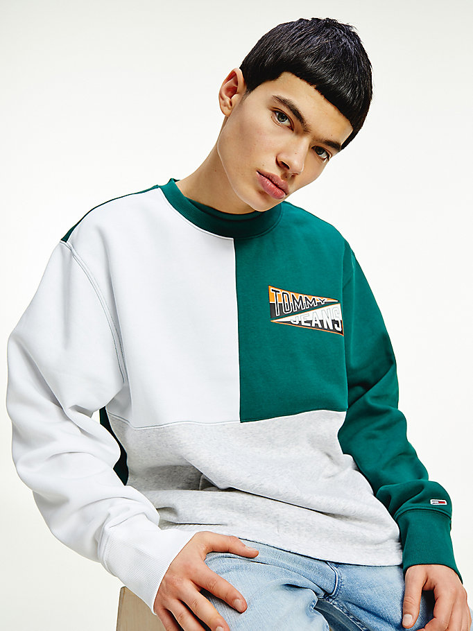 grey college logo sweatshirt for men tommy jeans