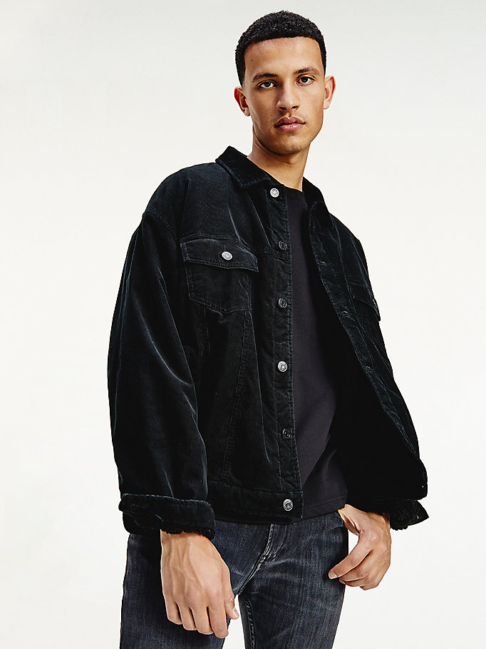 black fleece lined corduroy trucker jacket for men tommy jeans