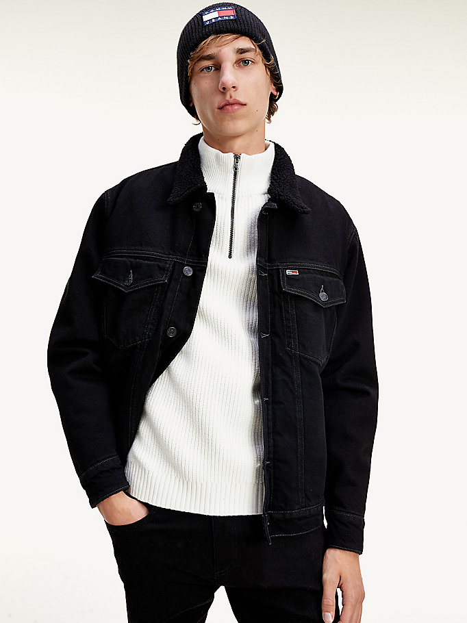 denim sherpa lined oversized denim trucker jacket for men tommy jeans