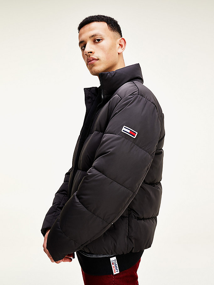 black high neck short puffer parka for men tommy jeans