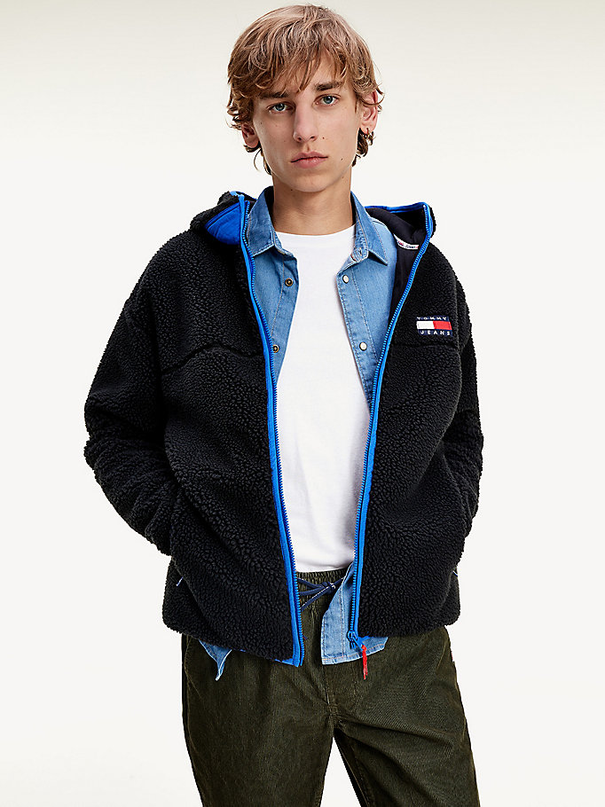 black comfort fit sherpa hoody for men tommy jeans