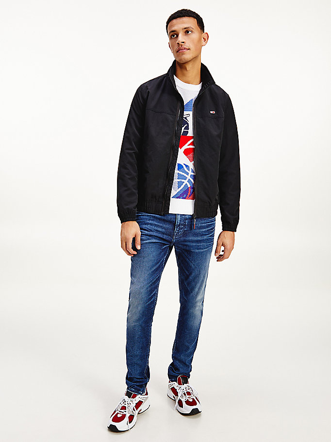 black essential zip-thru bomber jacket for men tommy jeans