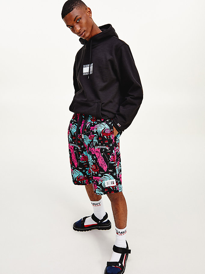 black miami print basketball shorts for men tommy jeans