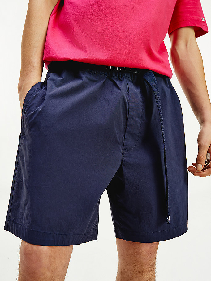 blue belted beach shorts for men tommy jeans