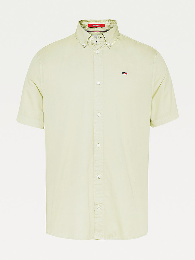 green lightweight organic cotton short sleeve shirt for men tommy jeans