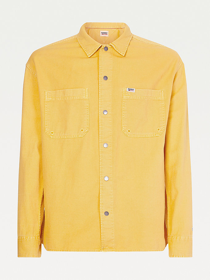 gold lightweight slub cotton overshirt for men tommy jeans