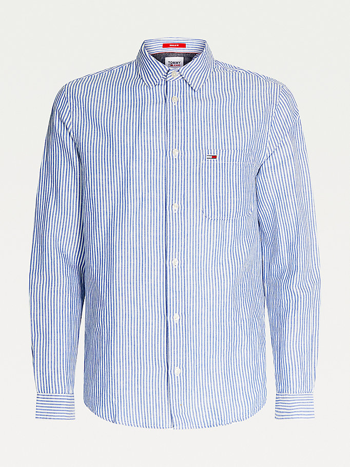 blue linen organic cotton stripe shirt for men tommy jeans