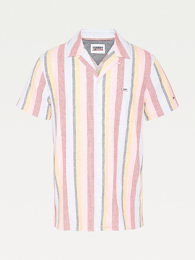 blue stripe short-sleeve camp collar shirt for men tommy jeans