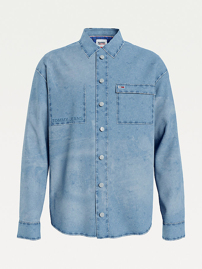surchemise stone-wash en denim denim pour men tommy jeans