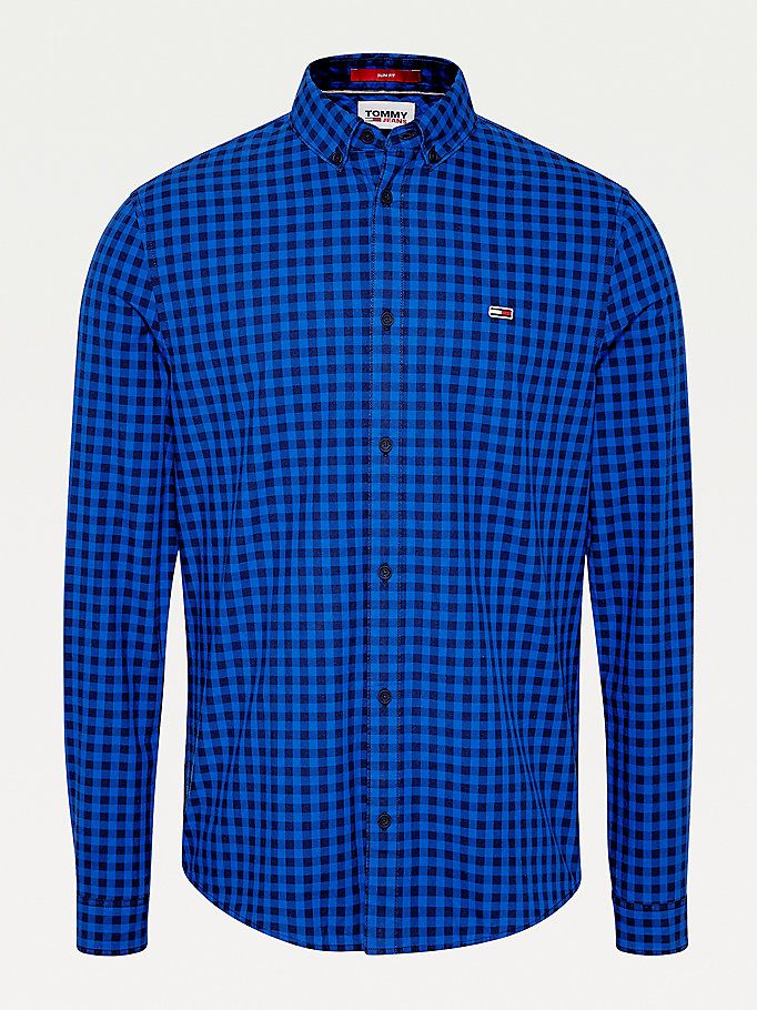 blue essential gingham shirt for men tommy jeans