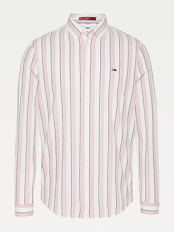 pink essential striped organic cotton shirt for men tommy jeans