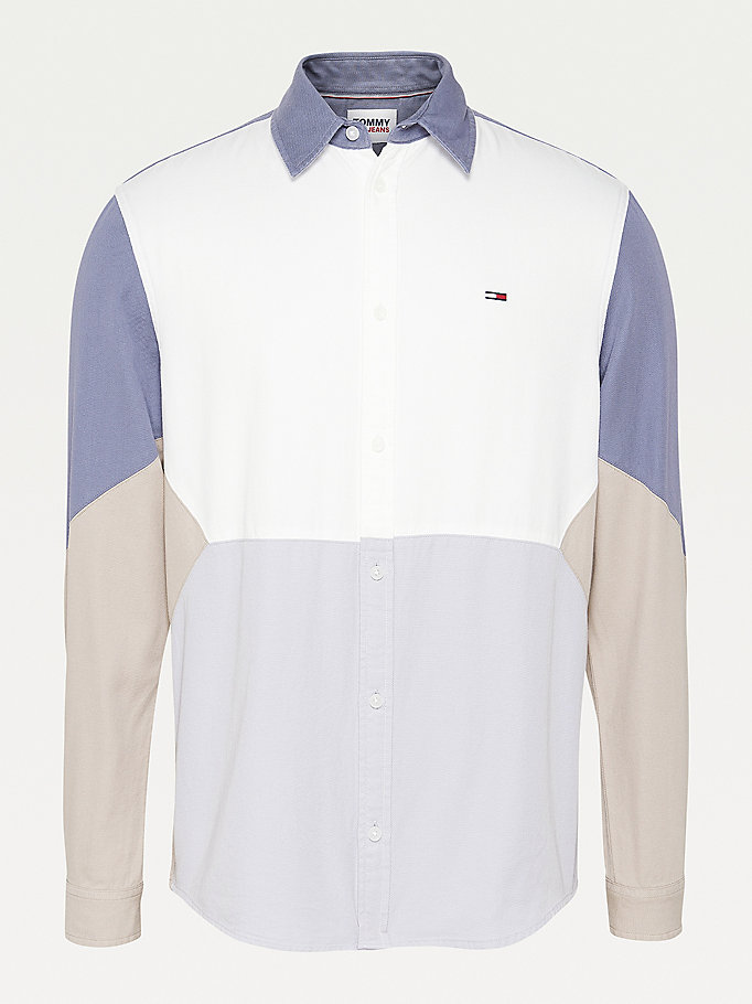 white colour-blocked woven shirt for men tommy jeans