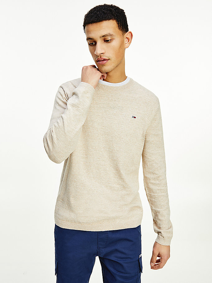 beige lightweight heather jumper for men tommy jeans