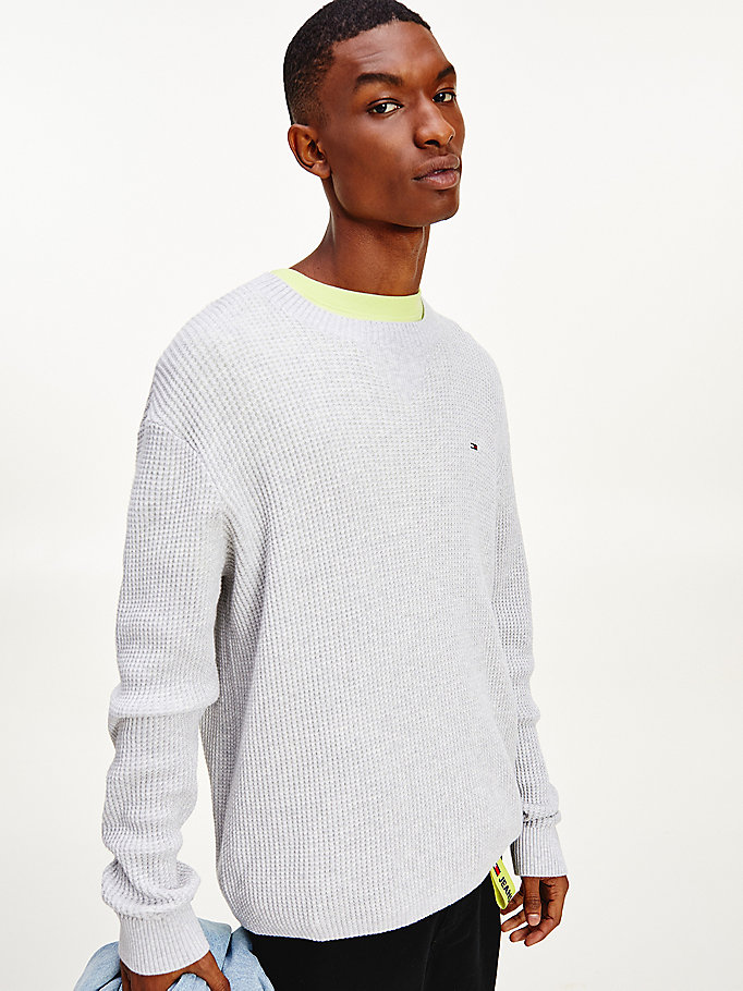 grey honeycomb waffle cotton jumper for men tommy jeans