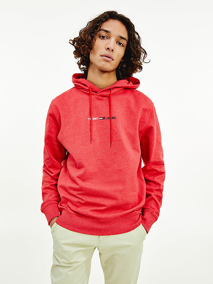 pink logo hoody for men tommy jeans