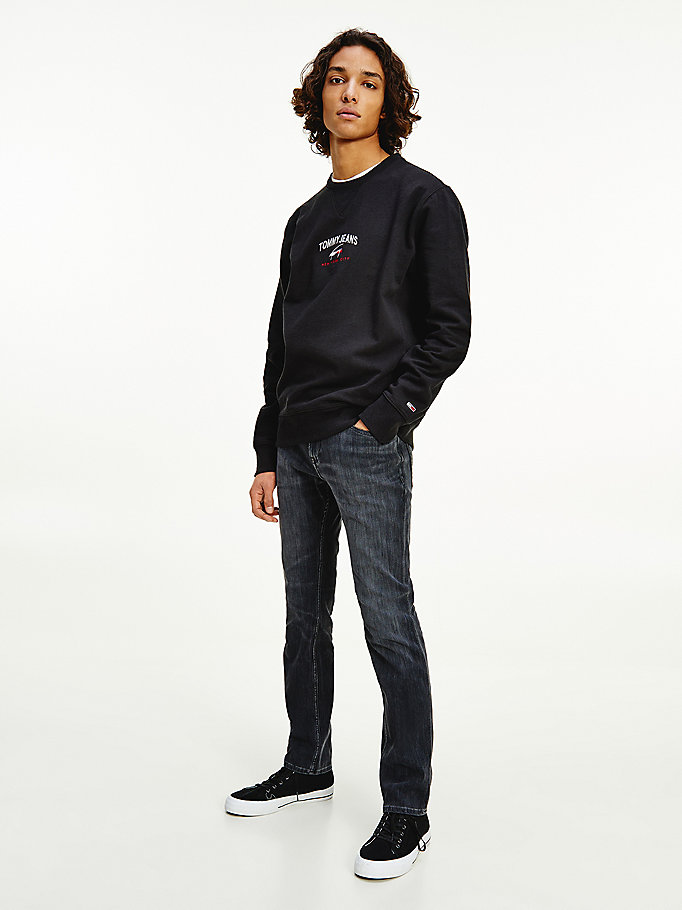 black organic cotton signature sweatshirt for men tommy jeans