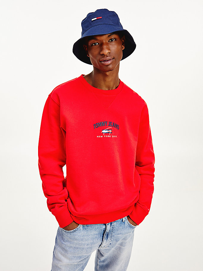 sweat en coton bio à logo signature rouge pour men tommy jeans