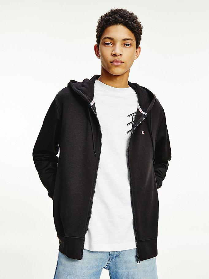 black zip-thru hoody for men tommy jeans