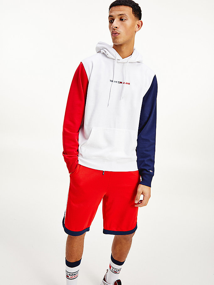 white colour-blocked hoody for men tommy jeans