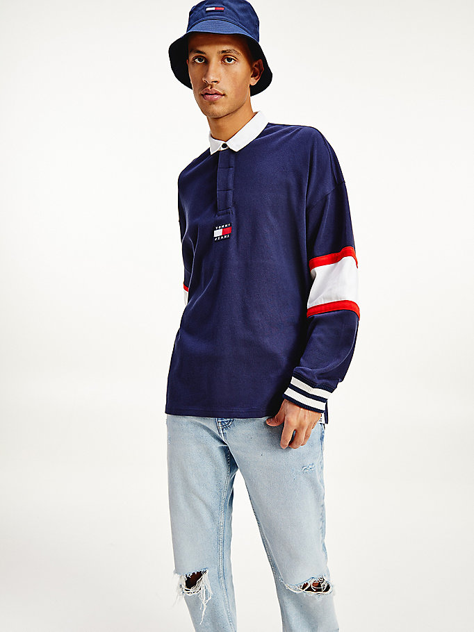 blue rugby stripe sweatshirt for men tommy jeans