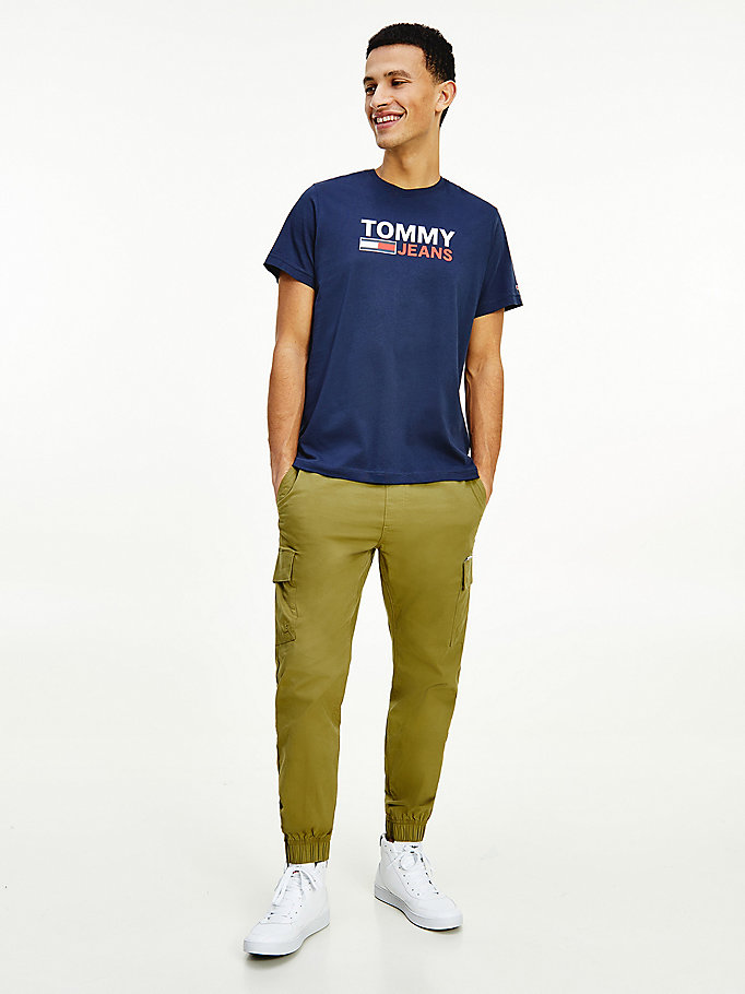 blue large logo organic cotton t-shirt for men tommy jeans