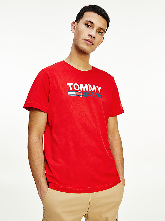 red large logo organic cotton t-shirt for men tommy jeans