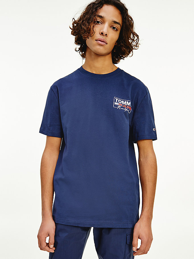 blue back logo soft organic cotton t-shirt for men tommy jeans