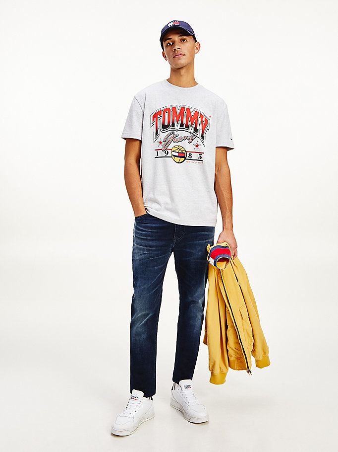 grey basketball graphic t-shirt for men tommy jeans