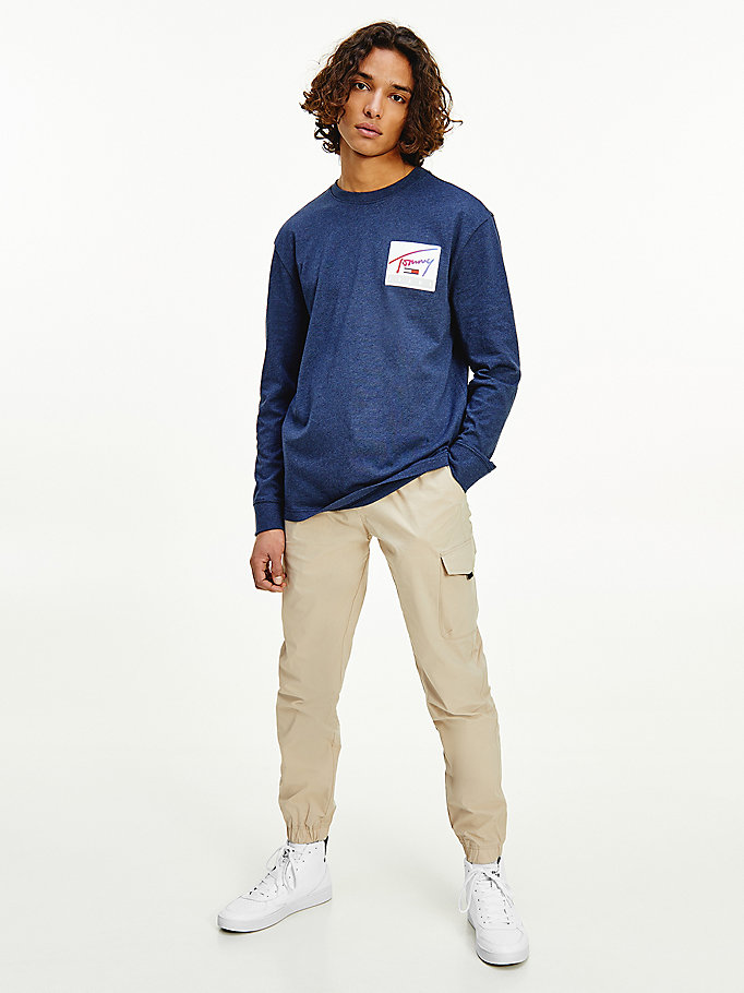 blue basketball logo long sleeve t-shirt for men tommy jeans