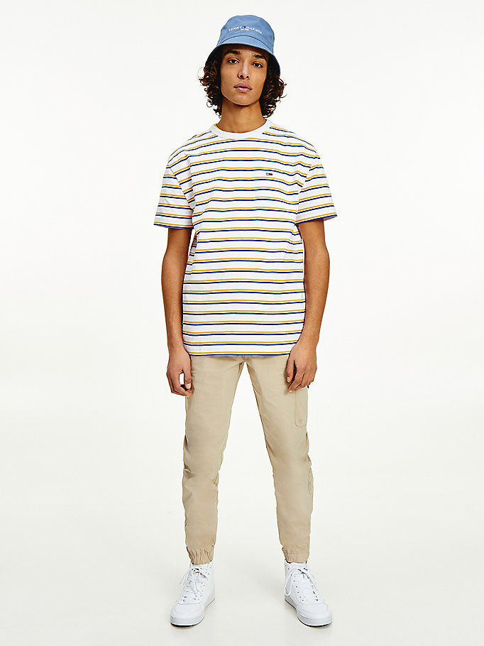 orange two-tone horizontal stripe t-shirt for men tommy jeans
