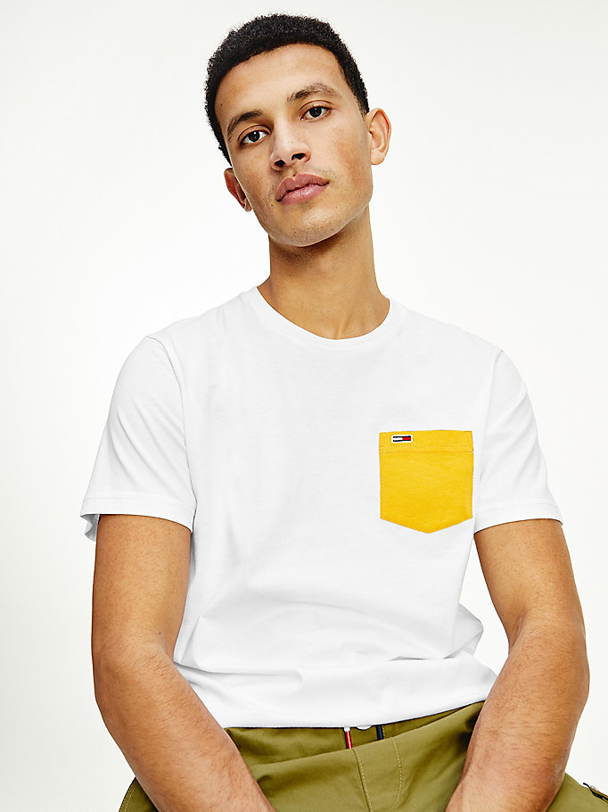 white organic cotton contrast pocket t-shirt for men tommy jeans
