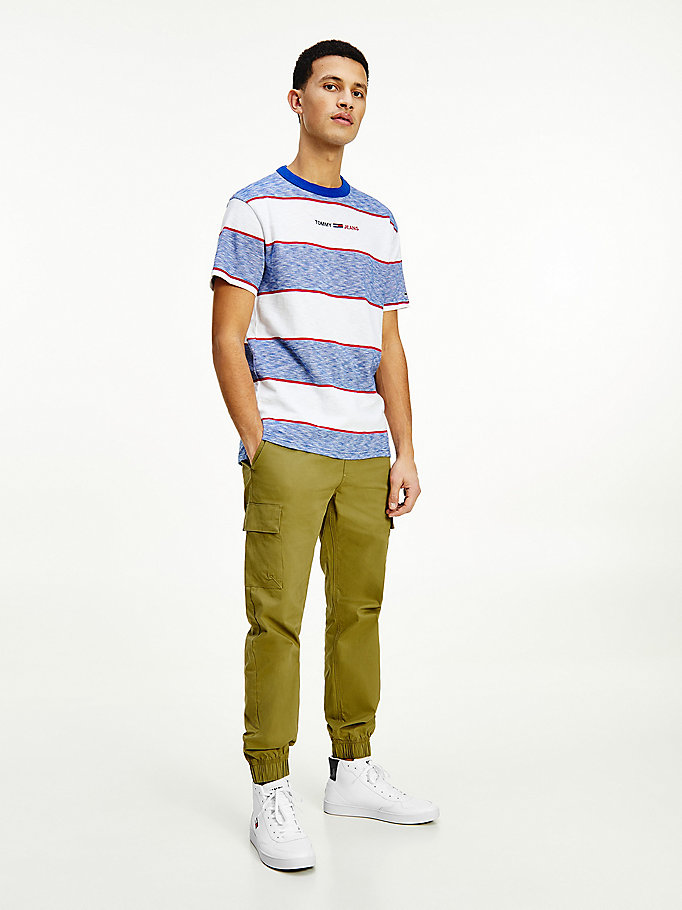 blue organic cotton stripe logo t-shirt for men tommy jeans