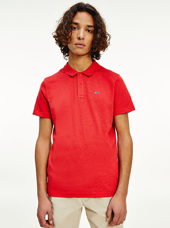 polo essential en jersey rouge pour men tommy jeans