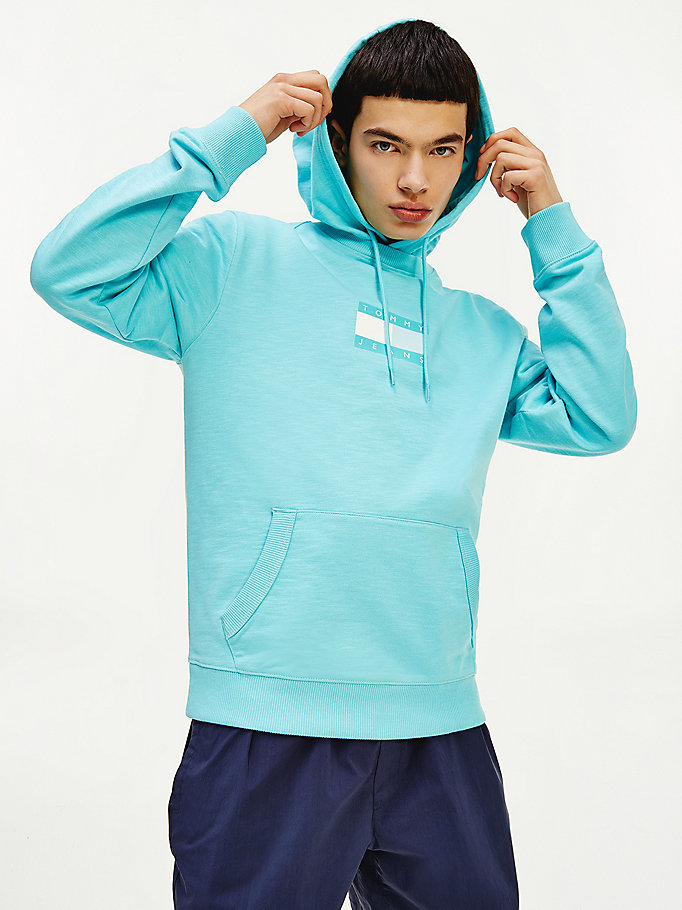 blue tonal logo hoody for men tommy jeans