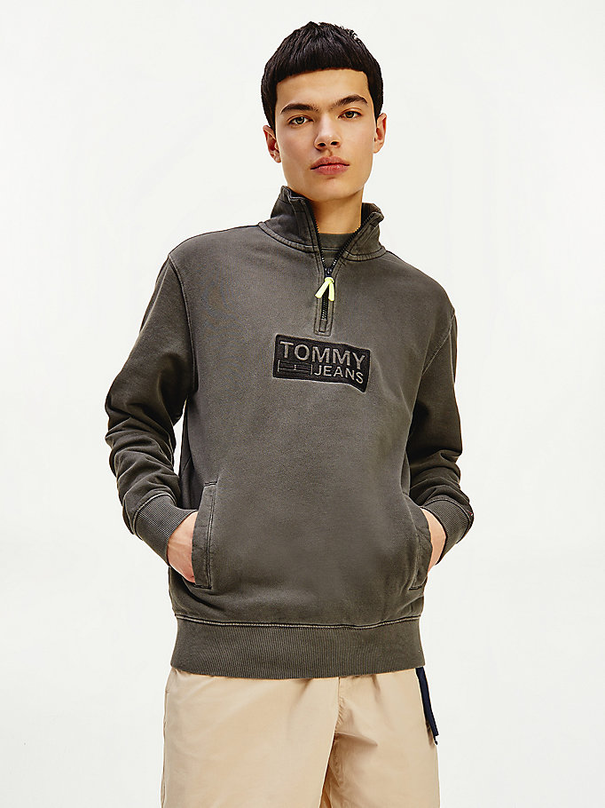 black tonal logo mock turtleneck sweatshirt for men tommy jeans