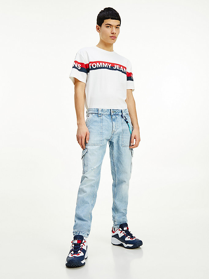 denim scanton slim cargo jeans for men tommy jeans