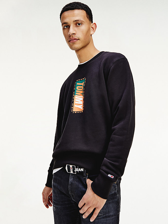 black textured logo organic cotton sweatshirt for men tommy jeans