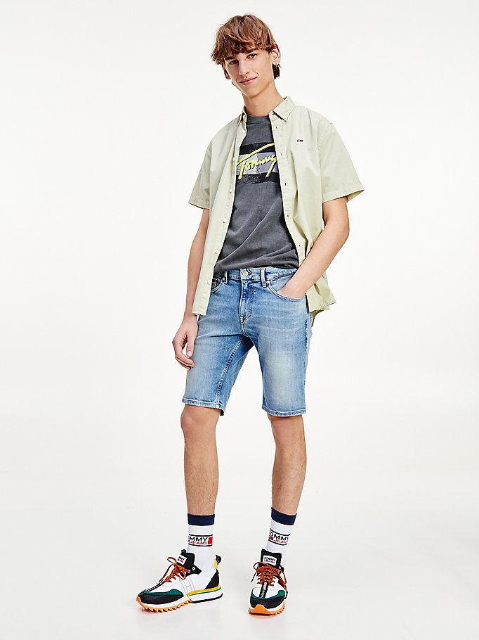 shorts scanton slim fit in denim denim da uomo tommy jeans