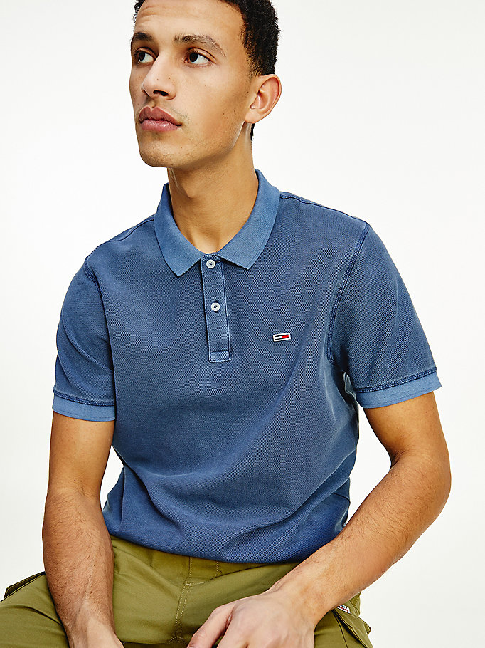 blue garment dyed polo for men tommy jeans