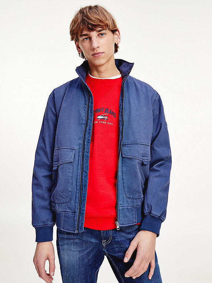blue organic cotton flag collar bomber for men tommy jeans