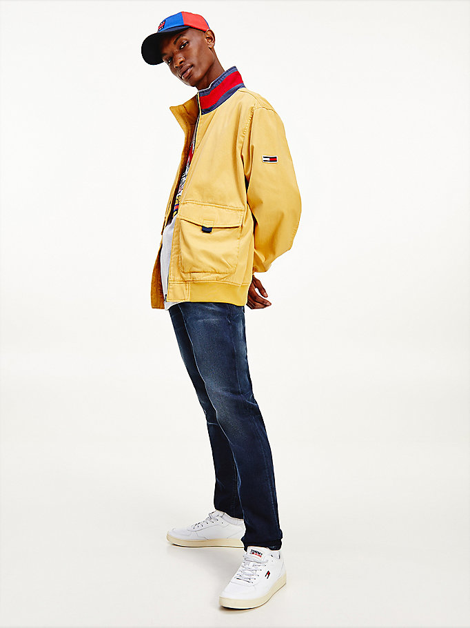 gold organic cotton flag collar bomber for men tommy jeans