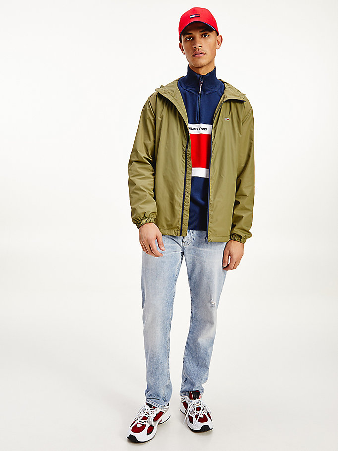green recycled nylon packable windbreaker for men tommy jeans
