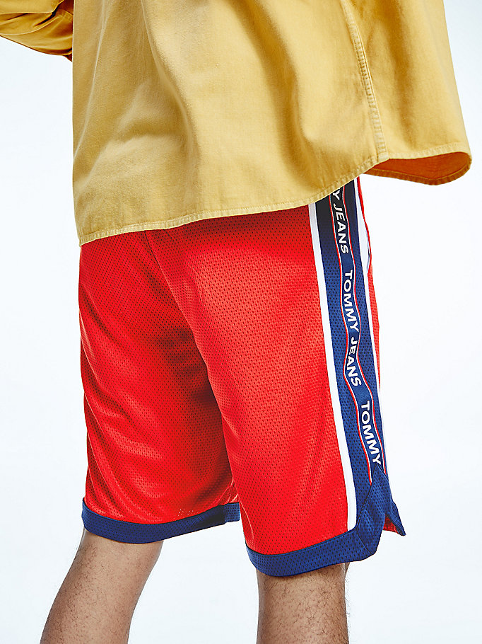 red mesh basketball shorts for men tommy jeans