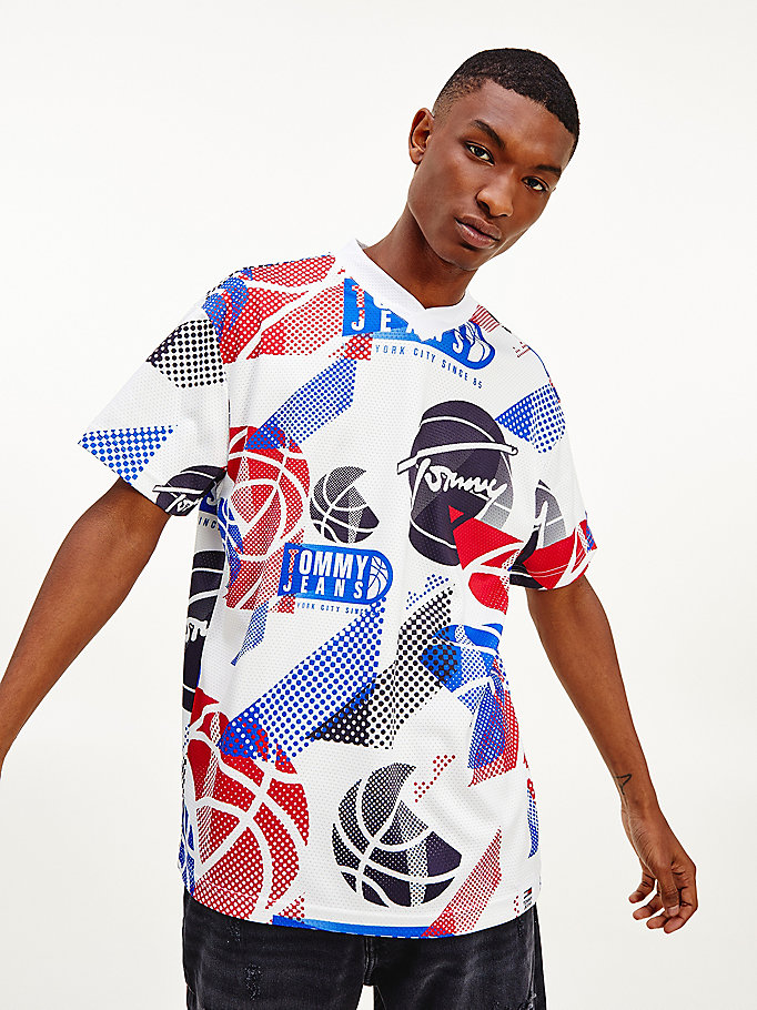 wit relaxed fit t-shirt met basketbalprint voor heren - tommy jeans