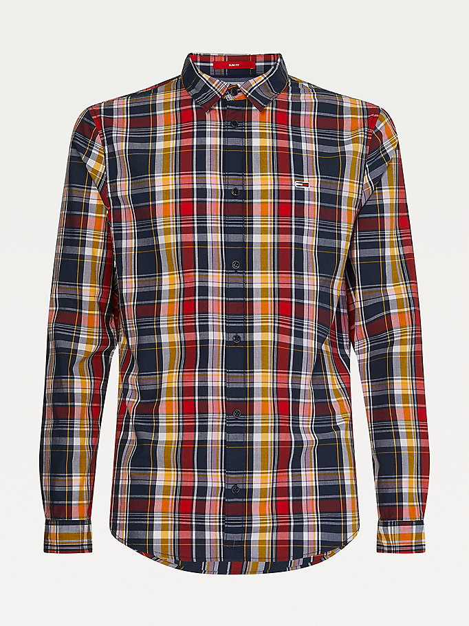 blue tartan check organic cotton shirt for men tommy jeans