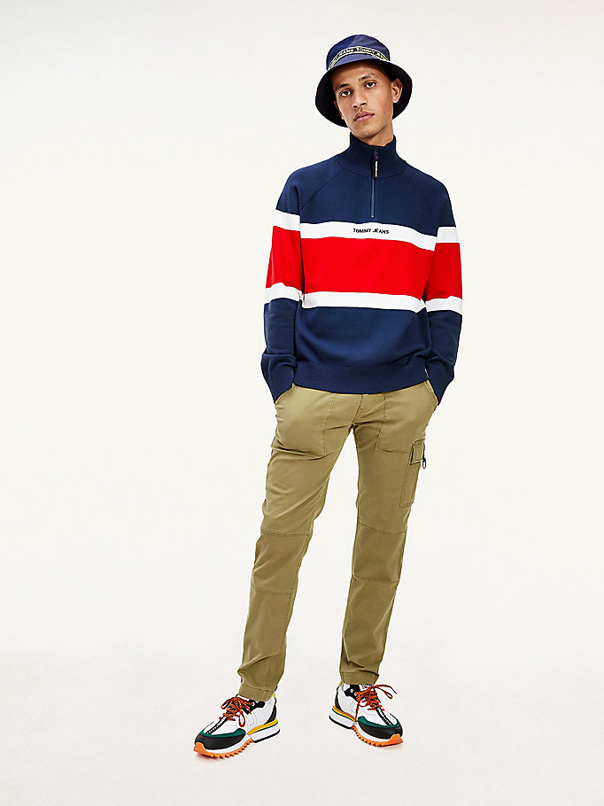 blue colour-blocked mock turtleneck jumper for men tommy jeans