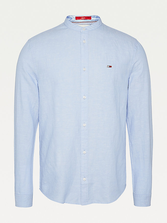 blue mandarin collar cotton linen shirt for men tommy jeans